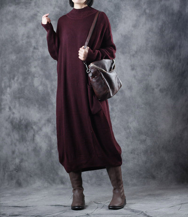 Red Loose High Neck Maxi Sweater Dresses For Women WF819