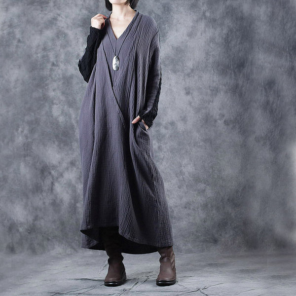 Gray Vintage Quilted Maxi Cotton Linen Dresses For Women W0278