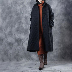 Women Black Loose Woolen Overcoat Casual Outfits W9207