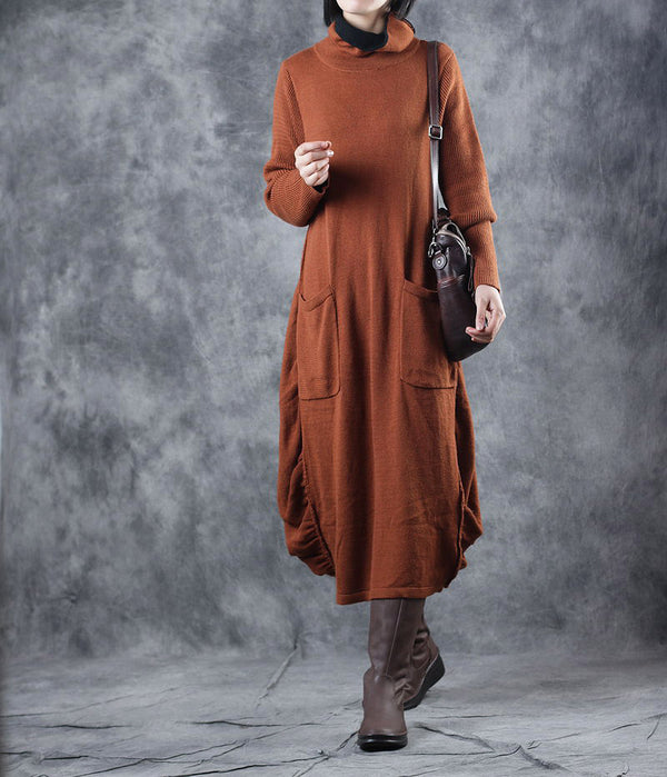 Orange High Neck Loose Sweater Dresses Women Casual Clothes WF129