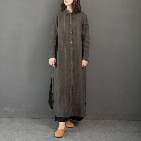 Vintage Loose Linen Long Shirt Women Casual Blouse S31120