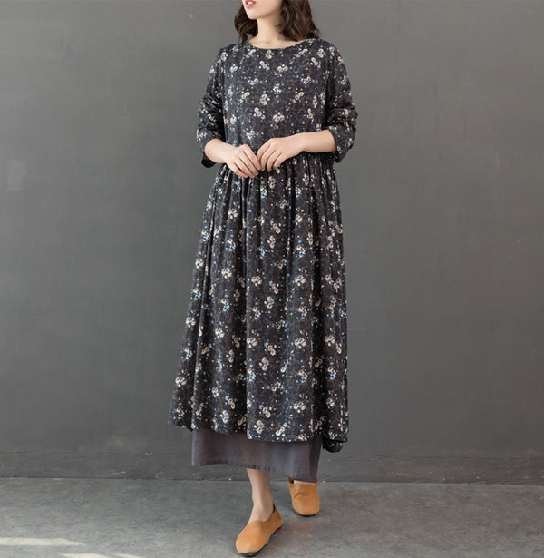 Cute Gray And Yellow Floral Cotton Dresses For Women Q32123