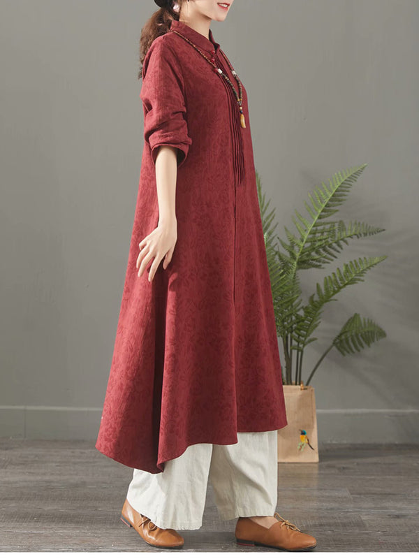 Red And Blue Casual Cotton Linen Maxi Dresses For Women 1388