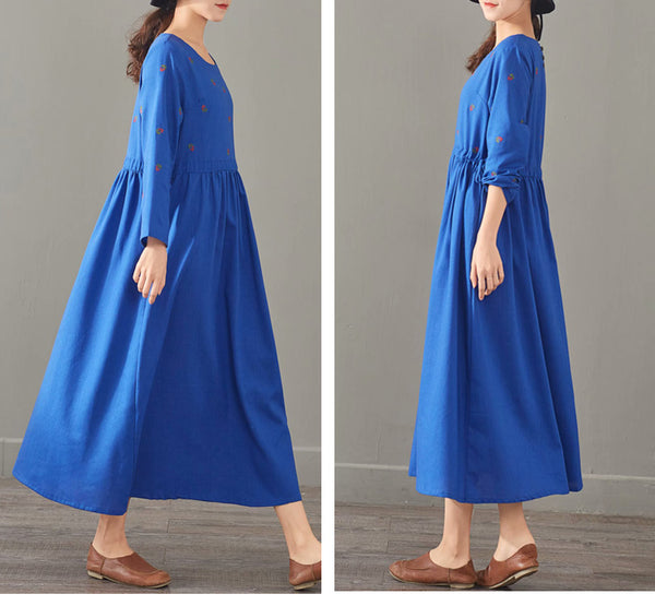 Loose Print Cotton Linen Maxi Dresses Women Casual Clothes 1387