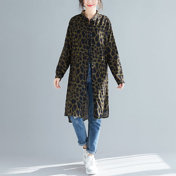 Loose Fashion Pantherine Long Shirt Women Casual Blouse S31125