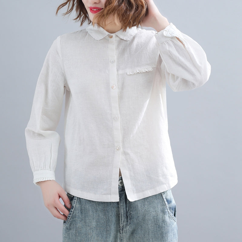 466078ab7341 Cute White And Coffee Cotton Linen Loose Shirt For Women S31126 ...