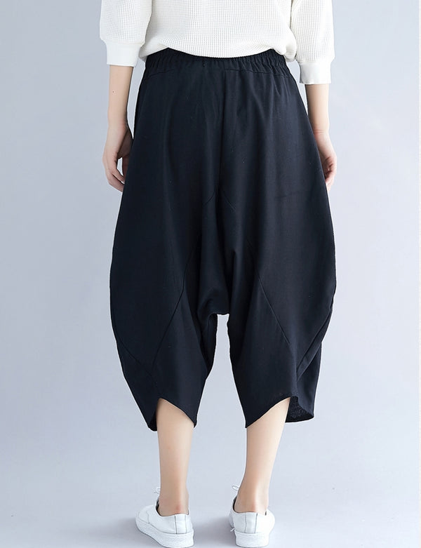Korea Style Loose Cotton Linen Pants Women Casual Trousers K31121