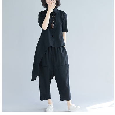 cdb6e7e7417 Korea Style Loose Two Piece Loose Shirt With Pants Suit S31128