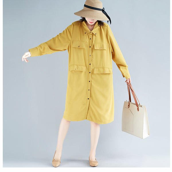 Cute Yellow And Green Cotton Casual Shirt Dresses For Women Q32128