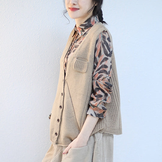 Korea Style Casual Knitted Waistcoat Women Loose Tops Q2127