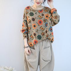 Women Loose Floral Cotton Linen Knitwear Casual Spring Tops Q2125