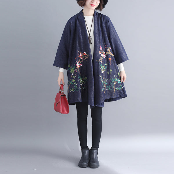 Cute Embroidery Loose Coat Women Casual Outfits For Spring C7010