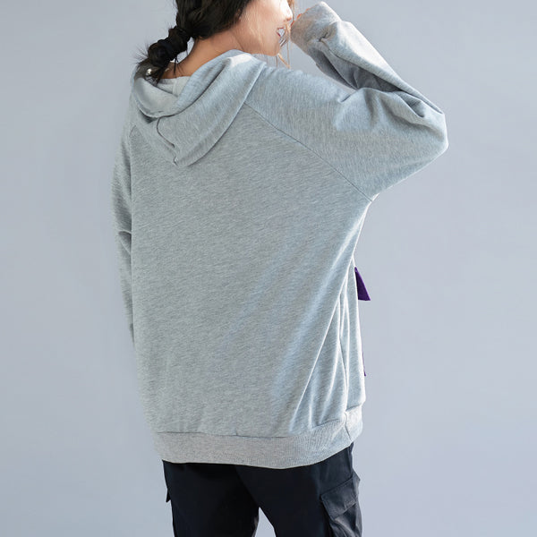 Gray Hoodie Print Cotton Fleece Women Casual Tops F7010