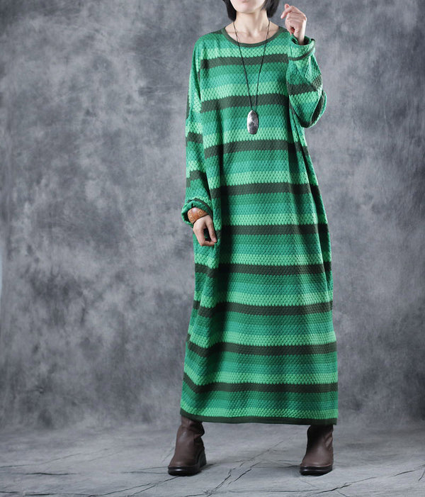 Loose Green Striped Sweater Dresses Women Casual Clothes WF3A