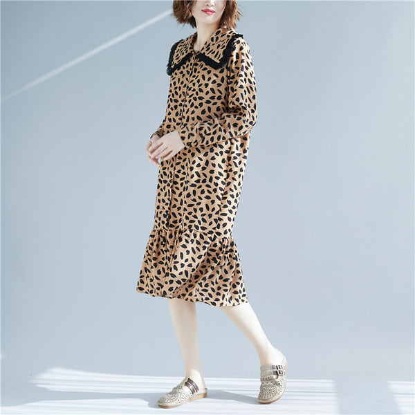 Fashion Pantherine Casual Chiffon Dresses Women Cotton Clothes Q7016