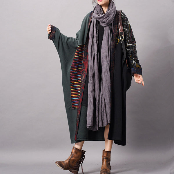 Vintage Quilted Loose Fleece Long Coat Women Casual Outfits C7015