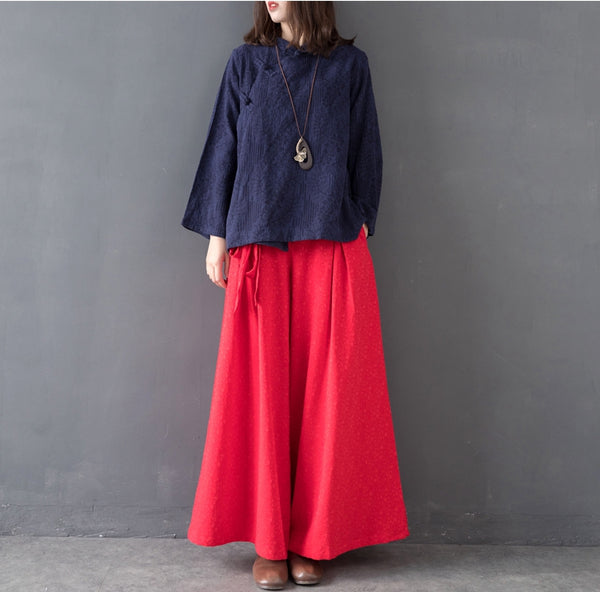 Vintage Pure Color Cotton Linen Wide Leg Pants For Women K7010