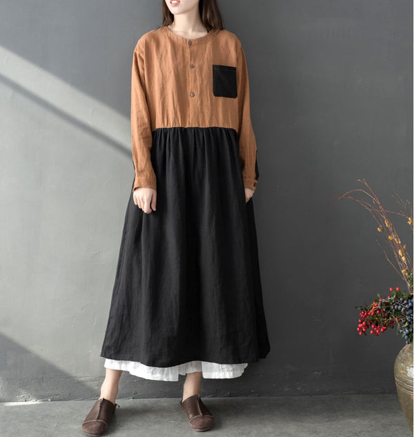 Loose Quilted High Neck Linen Dresses Women Casual Spring Clothes Q8011