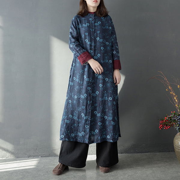 Loose Print Linen Shirt Dresses Women Casual Outfits Q8012