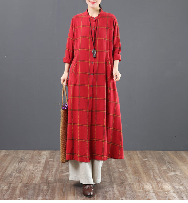 Fashion A Linen Cotton Plaid Shirt Dresses For Women 6205