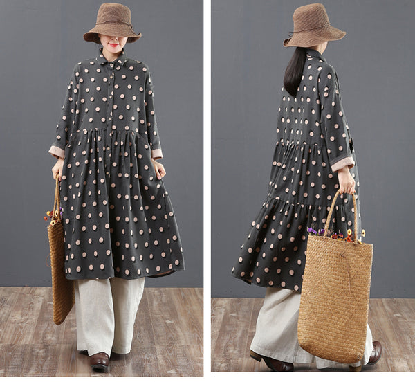 Spring Loose Polka Dot Casual Dresses For Women 6172