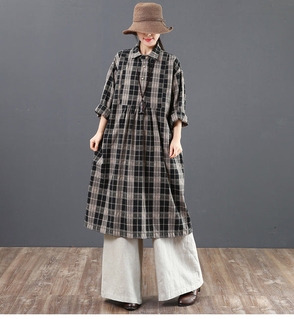 Casual Cotton Linen Plaid Dresses Women Loose Spring Clothes 6173