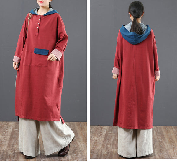 Loose Hoodie Cotton Fleece Dresses For Women 6156