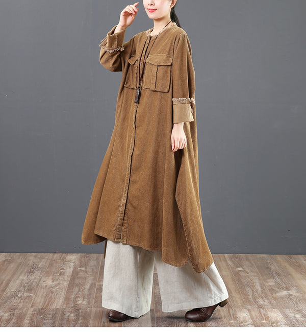 Women Loose Corduroy A Line Shirt Dresses For Spring 6157