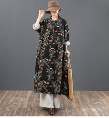 Loose Spring Floral Cotton Linen Dresses For Women 6119