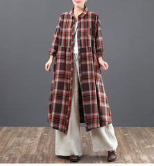Casual Cotton Linen Plaid Shirt Dresses Women Loose Spring Clothes 6125