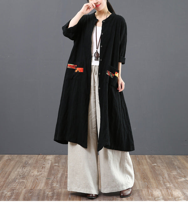 Spring Loose Long Cotton Shirt Women Casual Blouse 6120