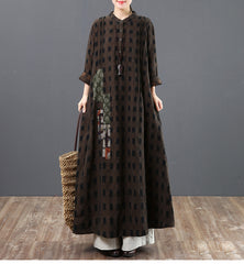 Fashion Loose Cotton Plaid Spring Maxi Dresses For Women 6129