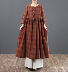 Spring Loose Cotton Plaid Maxi Dresses For Women 6151