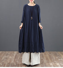 Vintage Pure Color Cotton Linen Maxi Dresses For Women 6091