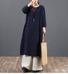 Vintage Pure Color Cotton Maxi Dresses For Women 6095