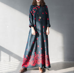 Chinese Style Embroidery Loose Spring Dresses For Women Q8013
