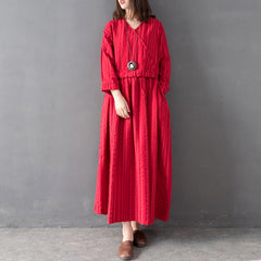 Vintage Red And Blue High Waist Linen Maxi Dresses For Women Q8014