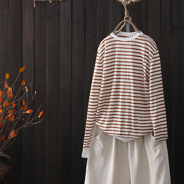 Loose Striped Cotton Base Shirt Women Casual Tops S8013