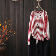 Simple Loose Striped Cotton Shirt Women Casual Blouse S8017