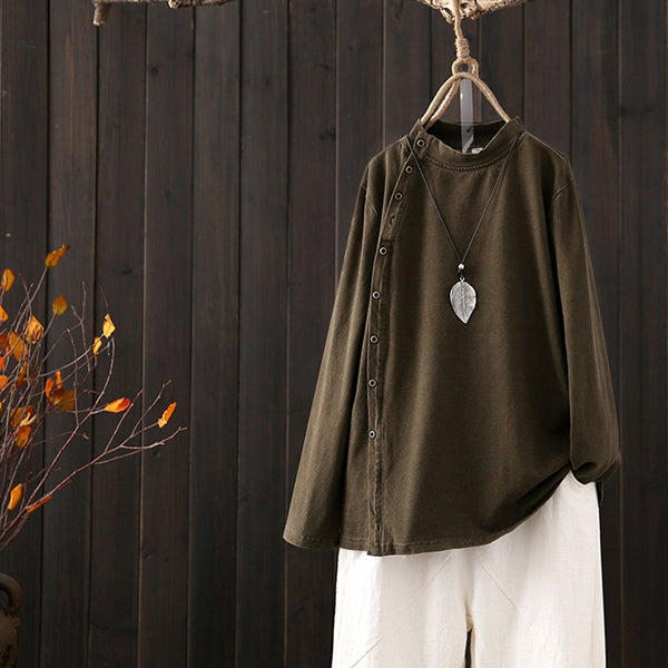 Vintage Spring Loose Cotton Shirt Women Casual Tops S8018