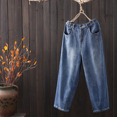 Women Loose Blue Jeans Spring Casual Cowboy Pants K7011