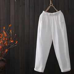 Women Loose Linen Casual Pants Fashion Pure Color Harem Trousers K7012