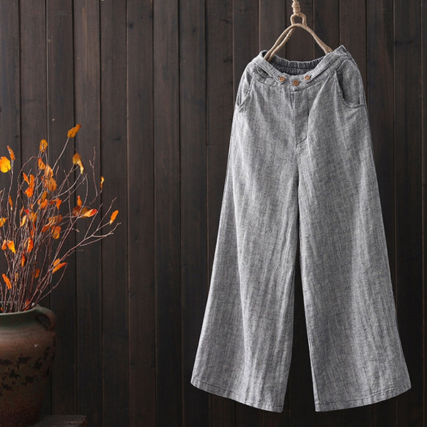 Vintage Cotton Linen Wide Leg Pants Women Casual Spring Trousers K7014