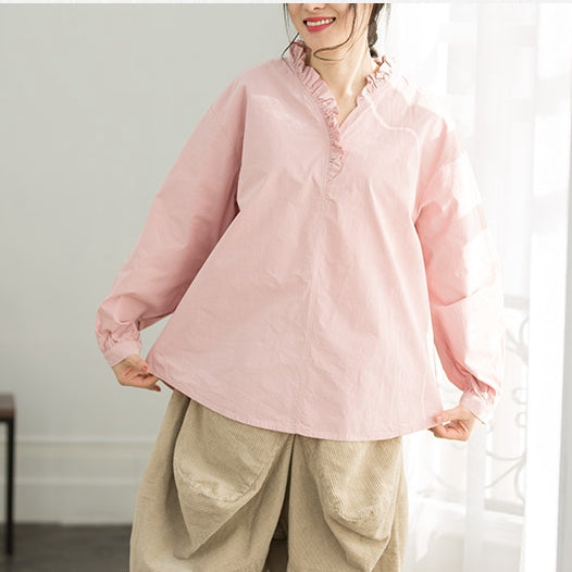 Cute Pure Color Cotton Shirt Women Casual Tops For Spring Q2160