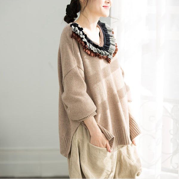Women Spring Loose Knitwear Casual Fashion Tops Q2152