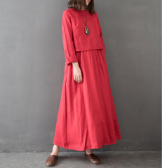 Vintage Women Linen Loose Maxi Dresses For Spring Q14010
