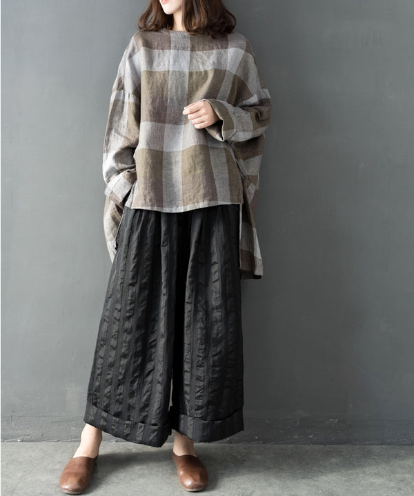 Spring Loose Linen Wide-Leg Pants Women Casual Trousers K14010