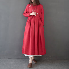 Loose High Waist Linen Maxi Dresses Women Spring Clothes Q14011