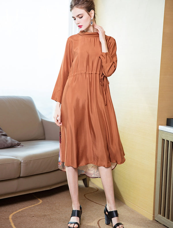 Elegant Pure Color Print Casual Dresses Women Spring Clothes Q14019