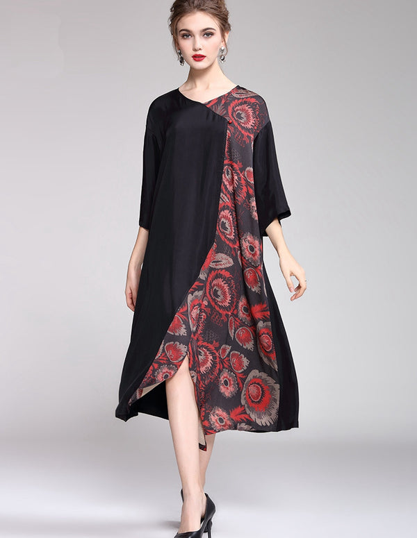 Red And Green Print Loose Dresses Women Casual Clothes Q16012